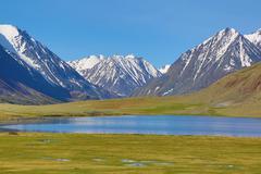 Mountain landscape with lake Stock Photos