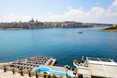 The view on Valletta and cruise yacht with tourists, Sliema, Malta Stock Photos