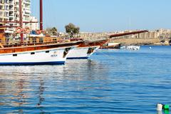 SLIEMA, MALTA - APRIL 22: The Hera cruises yachts and view on Valletta on Apr - stock photo