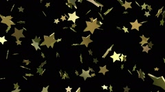 Flaying stars in gold color Stock Footage