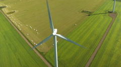 Epic Aerial drone shot of wind wheel Stock Footage