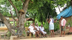 Old poor People at Rural village area Stock Footage