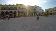 Panoramic view of Plaza Vieja, Havana, Cuba Stock Footage