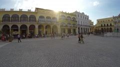 Panoramic view of Plaza Vieja, Havana, Cuba Stock Footage