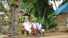 Old poor People at Rural village area Stock Footage