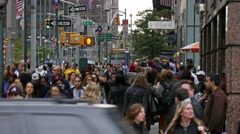 Crowded street of Manhattan, New York city Stock Footage
