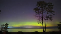 Northern Light and Stars Over Lake Simcoe 4k Time Lapse Stock Footage