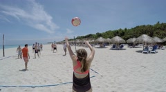 People Playing Volleyball in Coastal Beach in Varadero, Cuba Stock Footage