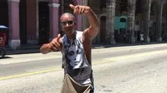 Sympathetic cuban man smiling in Havana, Cuba Stock Footage