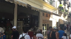 People along the Floridita street in Havana, Cuba Stock Footage