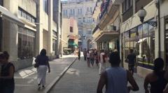 People along the Floridita street in Havana, Cuba Stock Footage