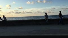 Beautiful view of Malecon in Havana, Cuba Stock Footage