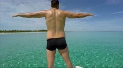 Free Inspired Guy Enjoying the Caribbean in Varadero, Cuba Stock Footage