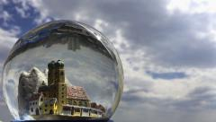 Small city in a crystal ball. Time lapse. Stock Footage
