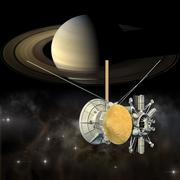 Cassini mission orbiter passing Saturn - stock illustration