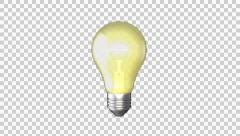 Light bulb turns around 360 and turns on (with Alpha Channel) 4K Stock Footage