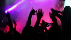 Silhouettes of the fans putting their hands up at the music festival Stock Footage