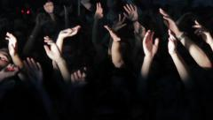 Party people putting their hands up under the strobe lights Stock Footage