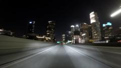 Los Angeles 110 Harbor and Pasadena Freeways Night Time Lapse Stock Footage