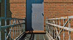 Rusty metal door and red brick wall - stock illustration