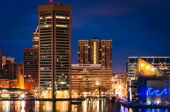 Stock Photo of View of the Inner Harbor and skyline at twilight from Federal Hill, in Baltim