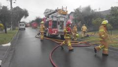School Fire Back Up Arrives Stock Footage