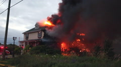Stock Video Footage of Firefighters battle blazing house fire