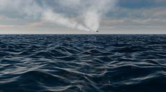 Stealth Fighter Jet FlyOver Ocean With Vapor Trail - stock illustration