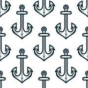 Old nautical ship anchors seamless pattern - stock illustration