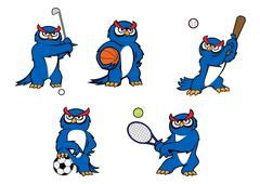 Blue cartoon owl player characters - stock illustration