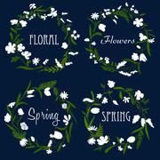 Wreaths with white flowers and herbs Stock Illustration