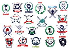 Baseball game sporting emblems and icons Stock Illustration