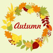 Autumnal frame with colorful leaves and herbs Stock Illustration
