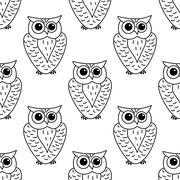 Horned owl seamless background pattern - stock illustration