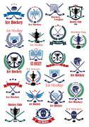 Ice hockey game icons and symbols Stock Illustration