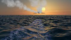 Stealth Bomber Fly Over Ocean With Vapor Trail at Sunrise Stock Illustration