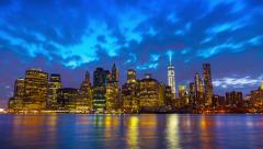 Timelapse of famous Manhattan cityscape, New York City, day till night Stock Footage