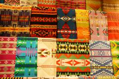 Colorful Native American textiles - stock photo