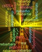 Rhubarb multilanguage wordcloud background concept glowing - stock illustration