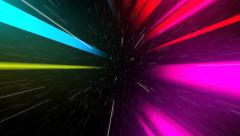 Psychedelic hyperspace flying through star field with colored streaks in 4k - stock footage