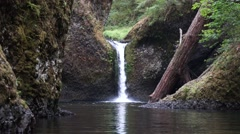 Punchbowl Falls, Columbia River Gorge National Scenic Area, Oregon Stock Footage