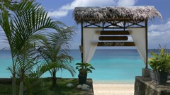 Beautiful view on tropical beach with turquoise sea - stock footage