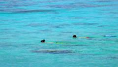 Snorkeling kids in turquoise lagoon Arkistovideo