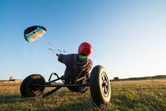 Unidentified rider on a kitebuggy - stock photo