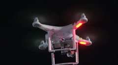 Drone UAV flying at night for video and photography - stock footage