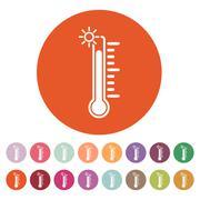 The thermometer icon. High temperature symbol Stock Illustration