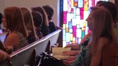 People Listening To Sermon In Church - stock footage