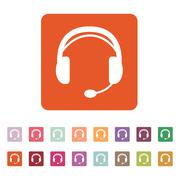 The headset icon. Support symbol. Flat - stock illustration