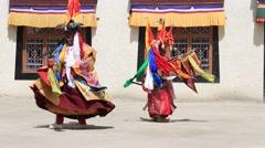 Buddhist lamas Masked Dancers in Lamayuru Gompa, Ladakh, India Stock Footage