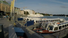Passenger boat quay in Stockholm Stock Footage
